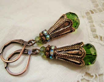 Antique Copper Art Deco Victorian Edwardian Vintage Style Dangle Earrings Emerald Green Glass Faceted Bead Rhinestone Rondelle Lever Back