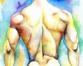 "PRINT of Original Art Work Watercolor Painting Gay Interest Male Nude ""Mirage"""