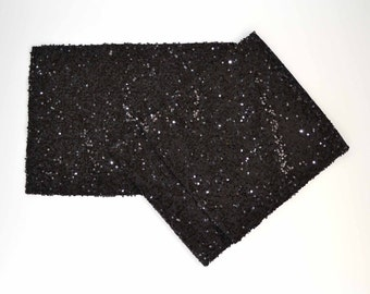 "Black Sequin Table Runner  -14"" x 108"" - Wedding, Halloween, Bridal Shower, New Years, Holiday, Birthday Party"