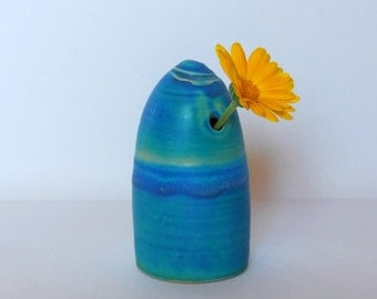 Bud vase Blue vase One of a kind vase Ceramic vase Pottery vase Small vase Ceramic and pottery Modern ceramics Bottle vase Modern vase