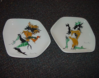 Leonor Fini 2 vintage plates