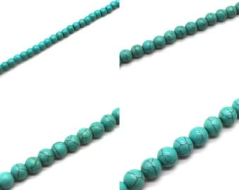 Round Turquoise Howlite Beads - Choose 4mm, 6mm, 8mm, or 10mm