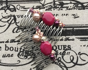 SALE- Pink and pearl bridal hair combs by ashley3535