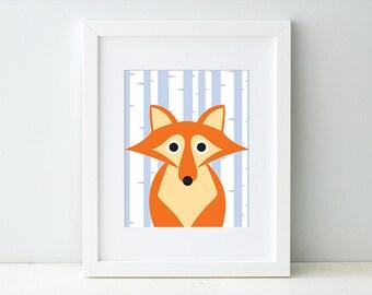 Fox Woodland Art Print, Woodland Animal Nursery Decor, Woodland Creature Artwork