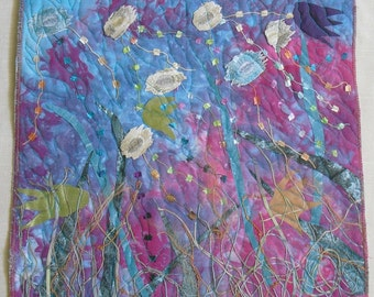 Impressionist Contemporary Art, Fiber Art Wall Hanging,fish and plants move together,small art quilt,redirected materials, marine  fantasy