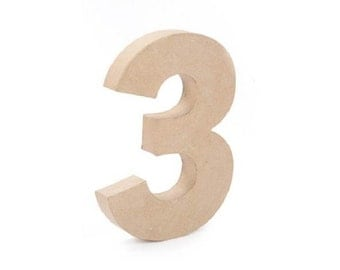 Paper Mache Cardboard 12 Inch Number 3 - Numbers - Three - Paper Craft Party Decor Supplies