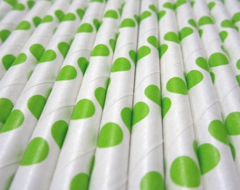 25 Lime Green Polka Dot Paper Drinking Straws - Party Decor Supplies Tableware