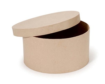 Round Paper Mache Cardboard Box - 14 Inch - Craft Gift Wrap Packaging Party Supplies
