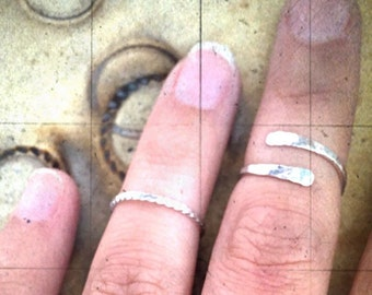 Recycled Argentium Sterling Silver Open Swirl Adjustable Ring, Midi Ring
