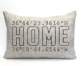 """valentine gift, housewarming gift, longitude latitude pillow, wedding gift, coordinates pillow, gift for her, mother's day gift """"The Home"""""""