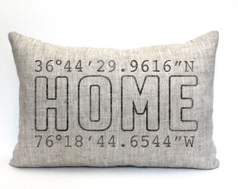 "mothers day gift, housewarming gift, longitude latitude pillow, wedding gift, coordinates pillow, gift for her, mother's day gift ""The Home"""
