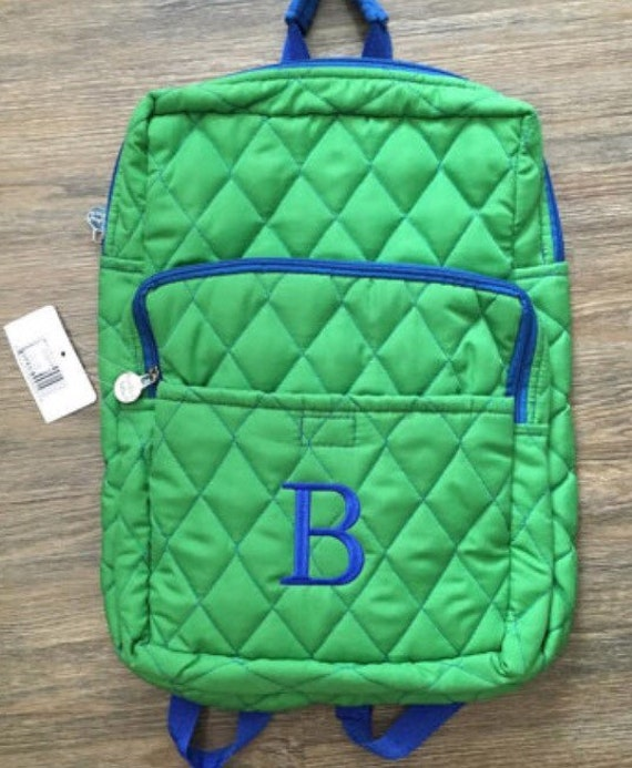 Unisex Green Quilted Initial Backpack