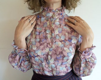Vintage Sheer Purple Feather High Neck Ruffle Button Up Blouse