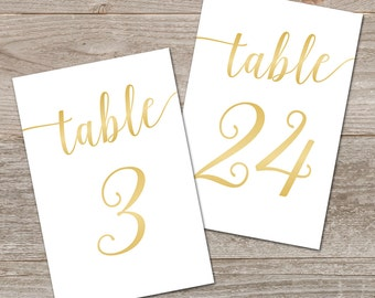 Printable Gold Table Numbers 1-40 // Bella Script Gold Table Numbers Gold Wedding Decor // 5x7, 4x6 Table Numbers Wedding