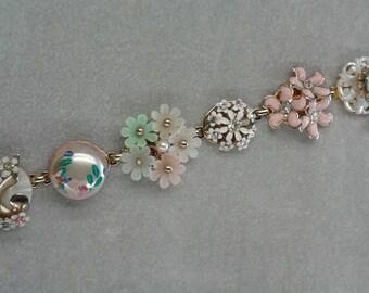 Vintage Collage Bracelet, Pastel Floral made from Vintage Earrings