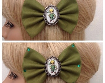 Link hair bow clip rockabilly psychobilly pin up geek legend of zelda princess retro rupee navi fabric green ladies girls
