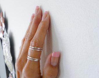 Silver Square Ring Thick Wire Adjustable Ring For Women Handmade Jewelry
