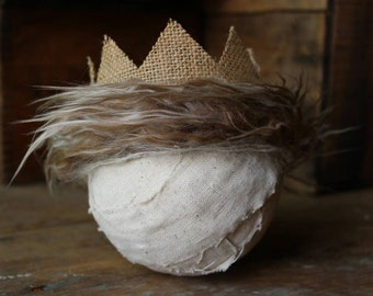 Wild Things Crown, Burlap newborn baby photography prop, Birthday party