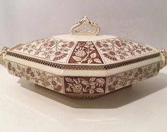 Antique Porcelain Covered Bowl large