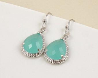 Mint green earrings silver drop earrings beautiful earrings drop earrings bridal earrings for women, bridesmaid earrings bridesmaid presents