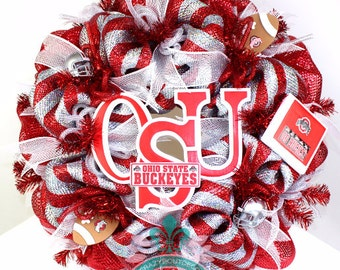 The Ohio State  Buckeye College Football Fan Deco Mesh Door  Wreath