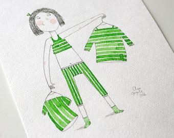 Dressing room decor Wardrobe art Girls room decor Funny gift Dresser Funny art Girls portrait Striped dress Childrens room decor Green decor