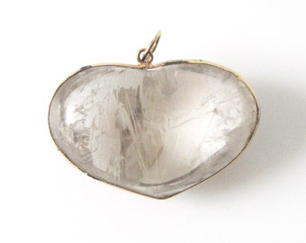 Vintage Rock Crystal Heart Pendant