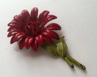 BIG BOLD Red flower brooch Summer Jewelry