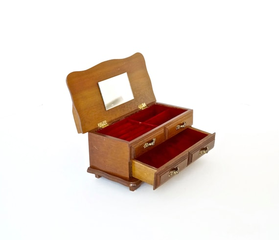 Jewelry box small solid wood chest with red velvet lining for Solid wood jewelry chest