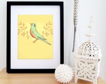 Nursery wall art | spring bird illustration | digital art | yellow and turquoise | Girl nursery drawing | 8'' X 10''