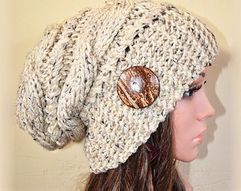 Slouchy beanie hat with button - OATMEAL TWEED (or Choose Color) Cable style - Oversized - chunky - handmade - baggy - gift