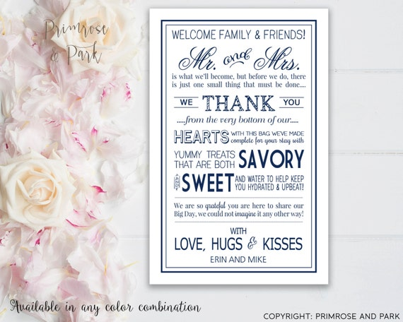 Thank You Letters For Wedding Gifts: Wedding Welcome Letter Printed Card // Wedding Thank You Note