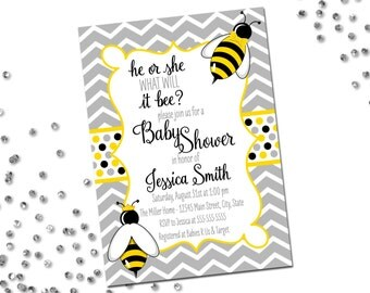 He or She What Will It Bee Invitation - Gender Reveal Invitation - Bumble Bee - He or She - Bow Tie Crown - Chevron Stripes - Printable