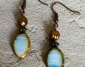 Czech Glass & Freshwater Pearl Earrings