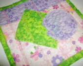 Mug Mat, Pink, Purple and Green Patchwork with green back