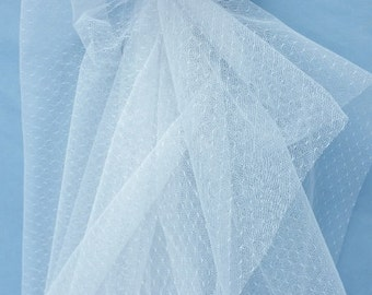 point d'esprit lace fabric in white