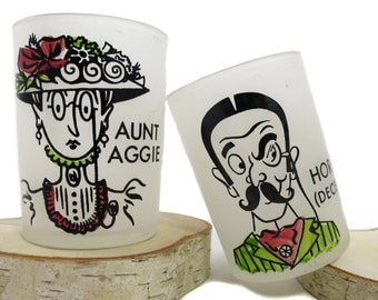 1940's Vintage Aunt Aggie and Horace Shot Glasses | Set of Two Shot Glasses