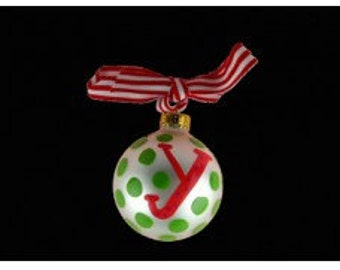 "Coton Pottery Hand Painted ""y"" Polka Dot Ornament"
