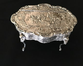 Antique 800 Sterling Silver Repousse Footed and Hinged Jewelry Box