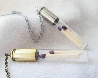 Supernatural necklace - Salt and burn - supernatural gift - salt bullet necklace - ghost hunting - vial necklace - supernatural jewelry -
