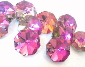 25 Metallic Rose Rainbow Chandelier Crystal Beads Octagon Shabby Chic Prisms 14mm
