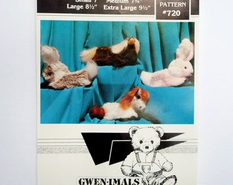 """Plush Fur Bunny and Horse Slippers Sewing Pattern by Gwenimals #720, S, M, L, XL, Sole 7"""" to 9 1/2"""" UNCUT"""