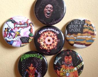 "Funkadelic pin back buttons 1.25"" set of 6"