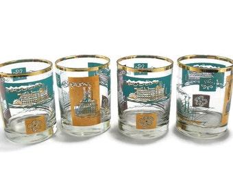 Vintage Libbey Southern Comfort Riverboat Cocktail Barware * Aqua 22K Gold Glasses * Set of 4