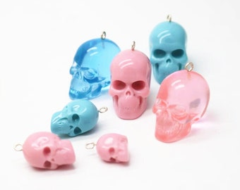 Resin 3D skull with hole and pin for pendant-0515-22x25x30mm(L) 15x18x20(M)10x12x16(S)-pink blue purple