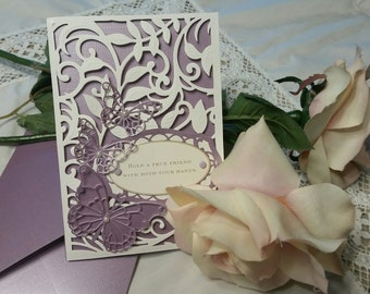 Handmade greeting card. Matching envelope. Friends