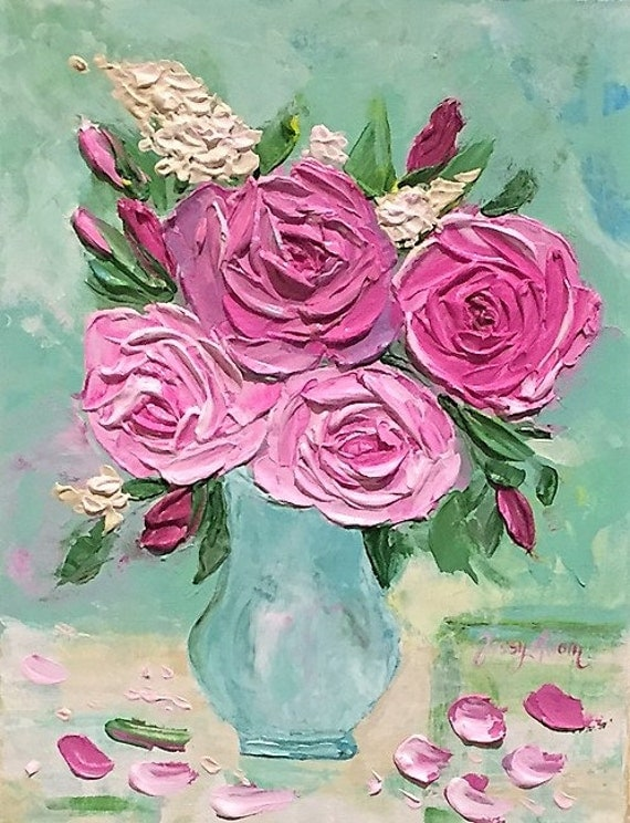 bouquet of garden roses original impasto painting pink purple. Black Bedroom Furniture Sets. Home Design Ideas