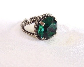 Sterling Silver Emerald Green Ring Vintage Faceted Glass Stone Adjustable