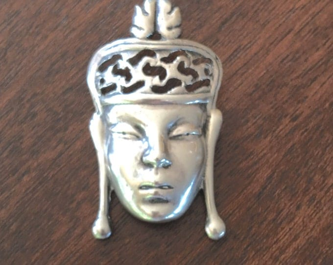 Sterling Asian Goddess Brooch, Sterling Silver Asian Princess Pin, Figural Asian Queen