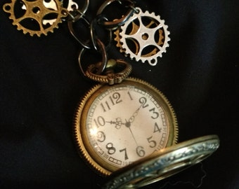 Steam punk costume pocket watch with gears
